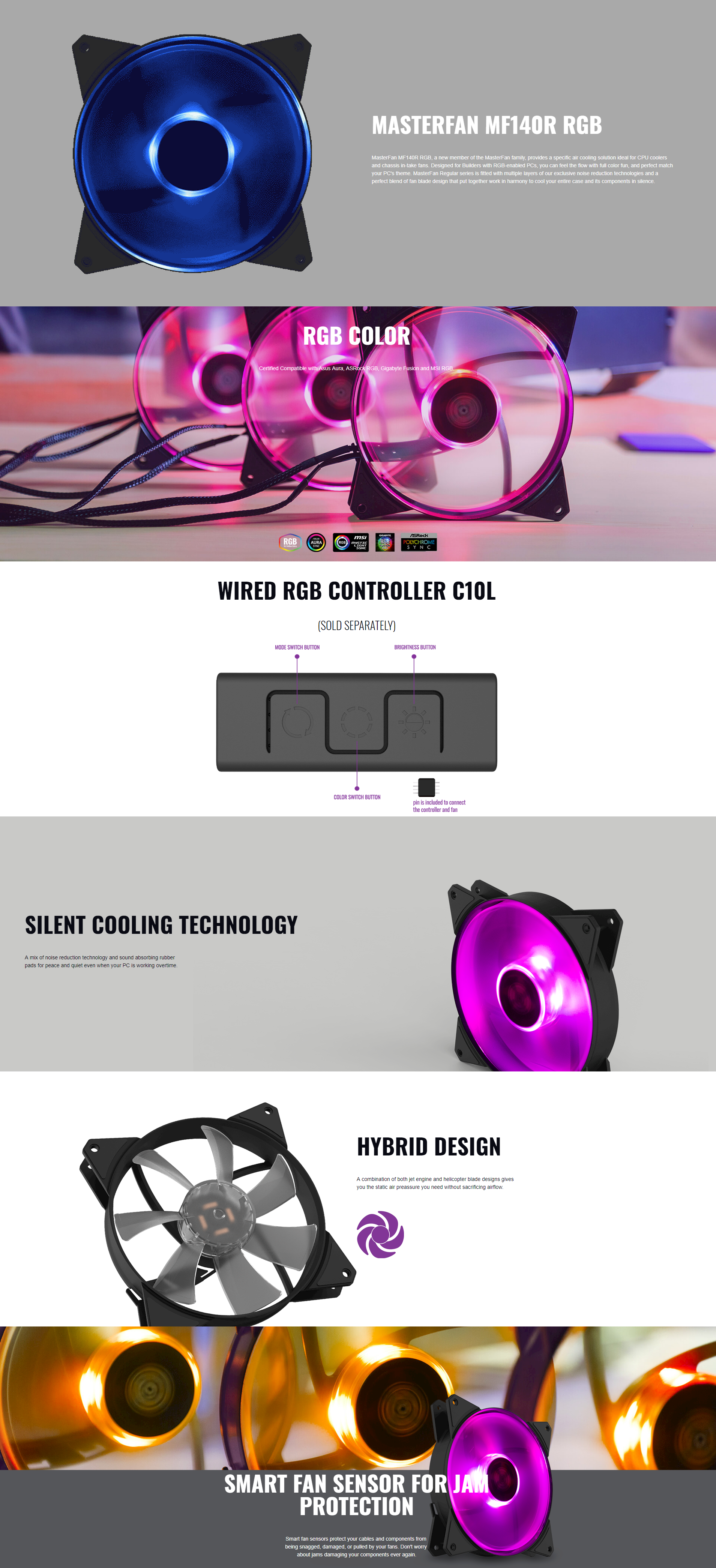 Cooler Master MasterFan MF140R RGB 140mm Fan -Brand New