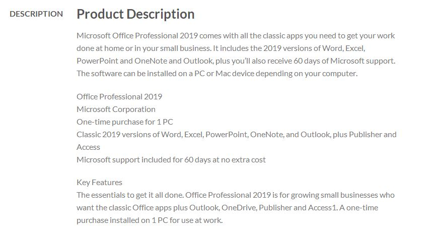 Microsoft Office 2019 Professional ESD License (License Key